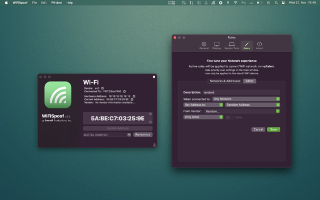 WiFiSpoof Mac