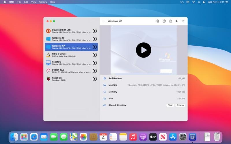 UTM Virtual Machines macOS